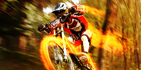 Downhill Bike Racer on Fire