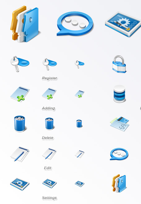Application Icon Set contains Register, Users, Settings, DB, Login, Logout,