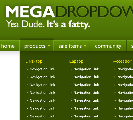 Mega Drop Down Menus