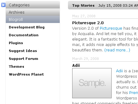 Wordpress Sidebar Turned Apple-Flashy Using jQuery UI