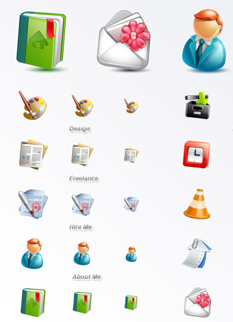 Cute Blogging Icon Set for Designers