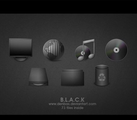 BLACK png icons by Denbas