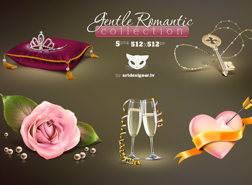 Download Romantic Icon Set Free