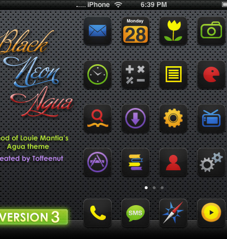 Free Icons for iPhone- Black, Neon and Agua