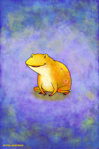 A laughing yellow frog - by Atelier302