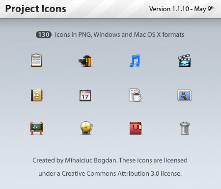 Project Icons in PNG, Windows and Mac OS X Formats