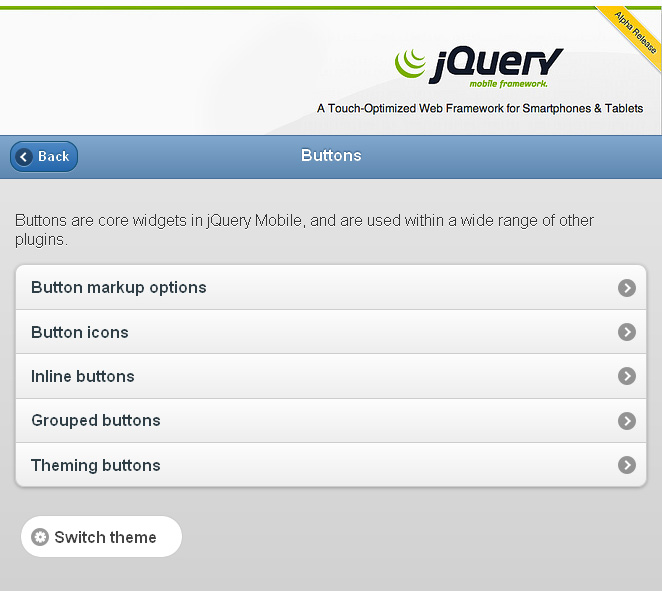 jQuery Mobile Alpha Release