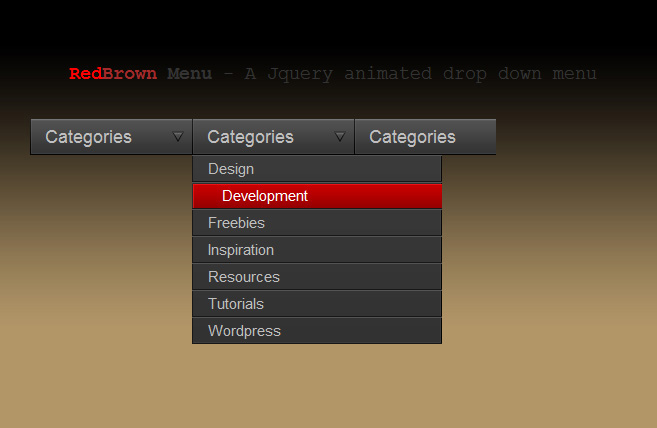 RedBrown Drop Down Menu- Using jQuery and CSS