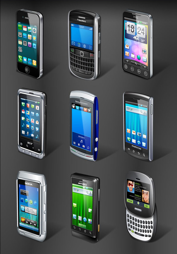 Mobile Phone Icons in Ai and PNG Formats