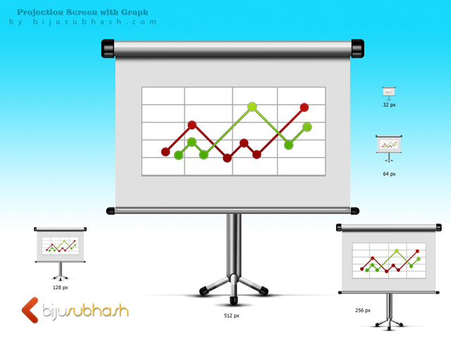 projection screen with line chart