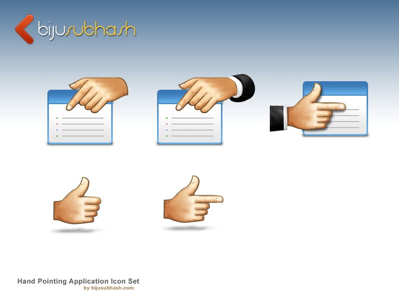 Hand Pointing Application Icon Set