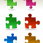 Puzzles Icons with Different Colors