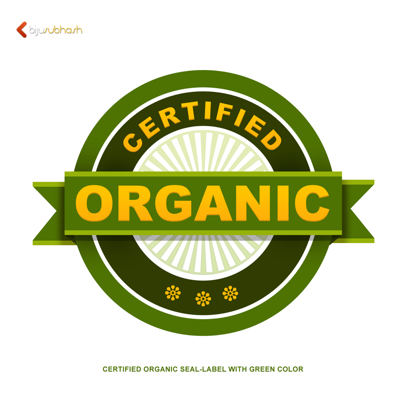 certified organic seal-label with green color