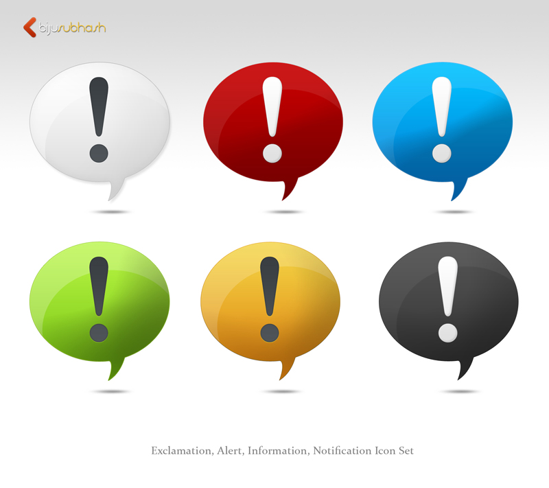 exclamation,alert, notification, information icon set