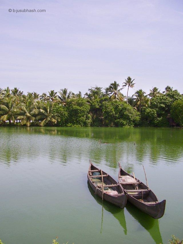 woodboat in backwater-at-mundanveli